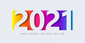 Happy New Year 2021 banner in paper cut style. Design for social media, promotion, sale, seasonal holidays flyers, greetings, invitations, Christmas themed congratulations, cards
