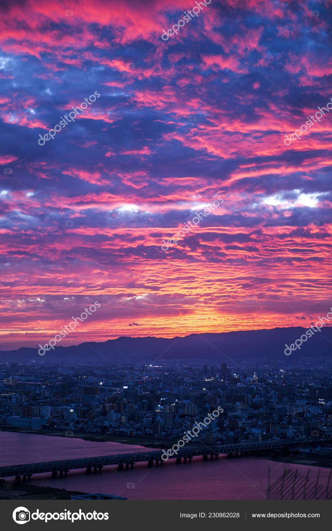 Sunset Pink Clouds Osaka Prefecture Japan Asia Stock Photo C Imagemore 230862028