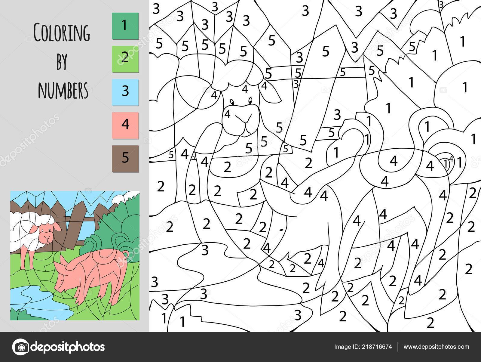 Tekenen Op Nummer Kleurplaten.Kleurplaat Door Nummer Educatieve Spel Voor Kinderen Een Uitdaging