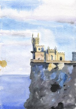 Yalta Swallow Nest on clif and sea background watercolor illustration. Crimea landmark.