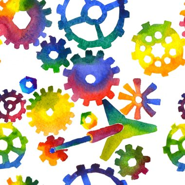 Seamless pattern made of bright watercolor gears and technical details . Creative steampunk mechanical background.