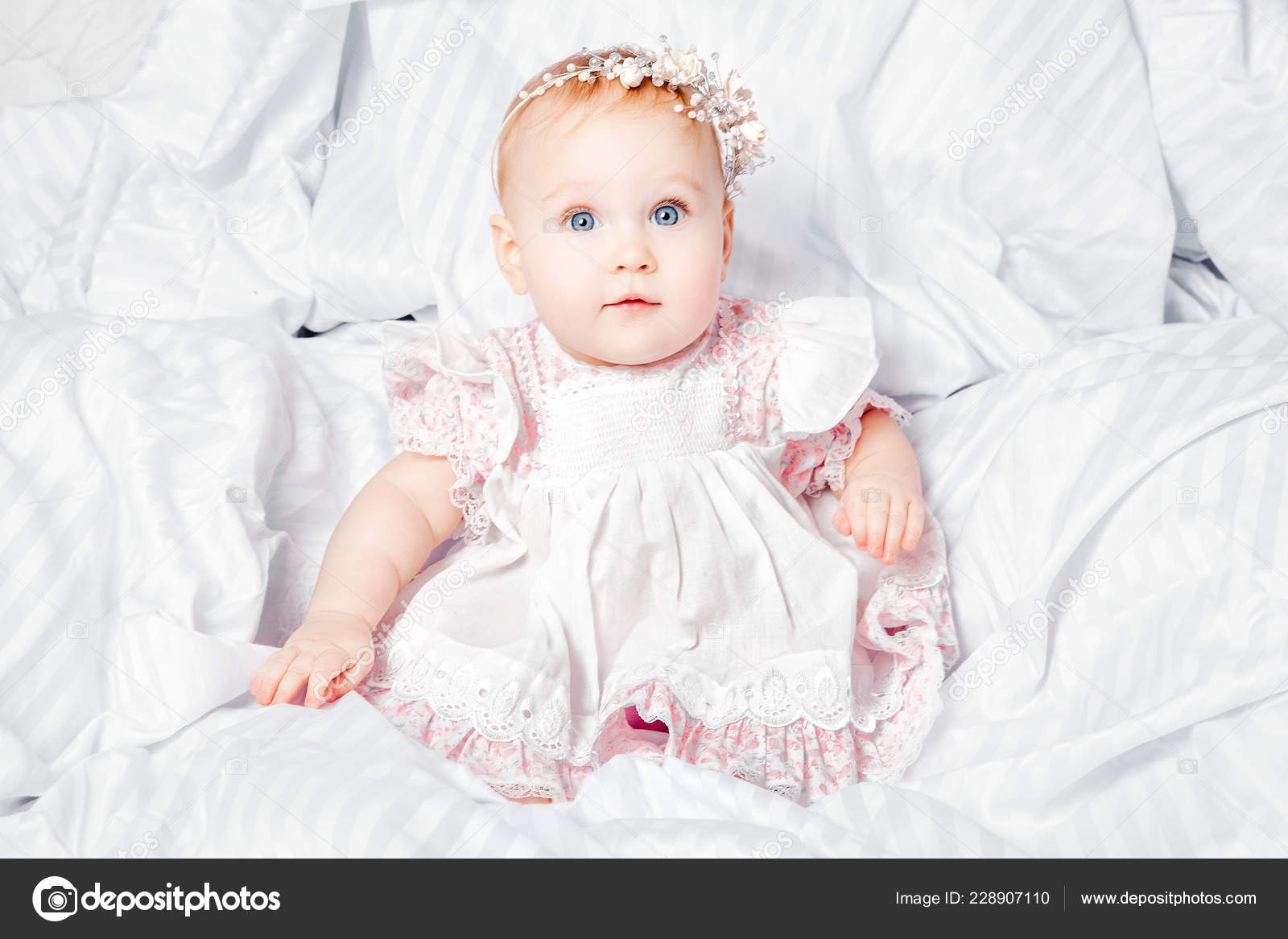 Image of: Photos Cute And Pretty Young Baby Girl In Nice Dress Over White Blanket Stock Image Depositphotos Cute Pretty Young Baby Girl Nice Dress White Blanket Stock Photo
