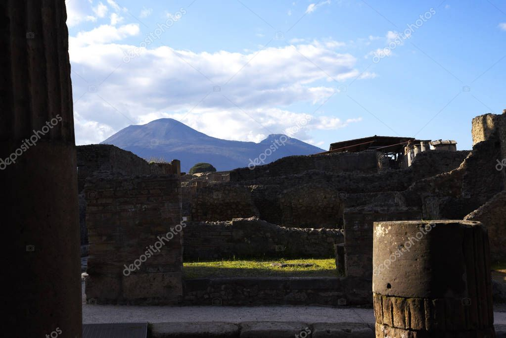 The once buried Roman city of Pompeii south of Naples under the shadow of Mount Vesuvius also near Naples in Italy