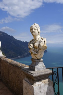 Ravello is high above the Amalfi Coast in Southern Italy. It is a beautiful hill town with fantastic views over the coastline The Villa Cimbrone owes its charm to the extraordinary beauty of the place and the views