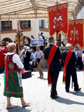 The Corpus Christi processions in Krakow Poland are every year in May. Poland is a Catholic Country and people are very religious. Kralow is called the city of Churches with over 120 places of worship of which over 65 were built in the 20th century