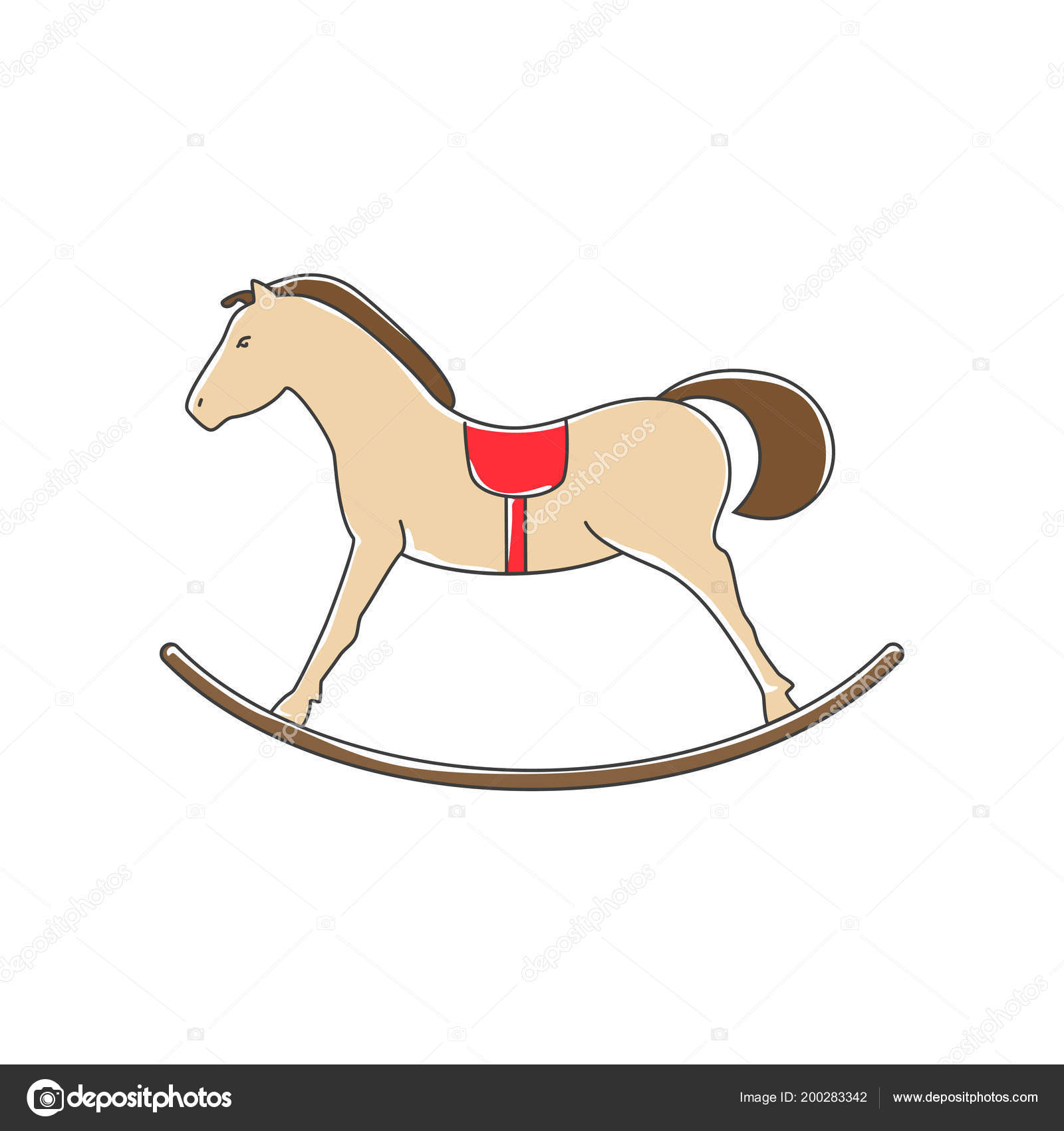 Rocking Horse Isolated White Background Merry Christmas Happy New Year Stock Vector C Serz72 200283342