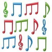 Fotografia Set di musica colorato le note 3d isolato su priorità bassa bianca