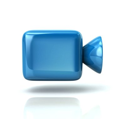Blue cinema camera icon 3d illustration on white background