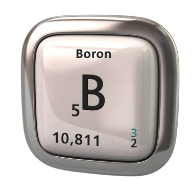 Boron B chemical element from the periodic table icon 3d illustration on white background