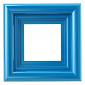 Fotografie Square blue frame 3d illustration isolated on white