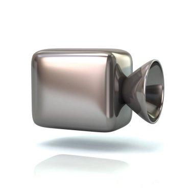 Silver cinema camera on white background