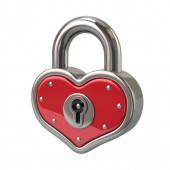 Vörös szív Shape Lock lakat szerelem Valentin nap koncepció 3D illus