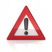 Varovná dopravní značka s vykřičníkem 3d ilustrace izolované na bílém pozadí