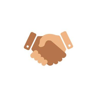 Hand shake flat symbol. Design template vector icon