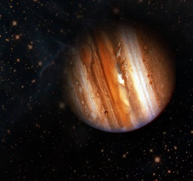 Jupiter and galaxy and stars. Beautiful texture. Elements furnis