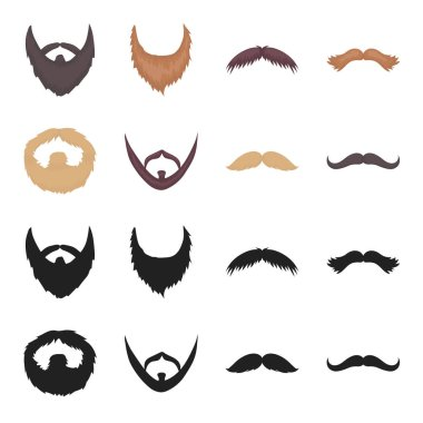 Mustache and beard, hairstyles black,cartoon icons in set collection for design. Stylish haircut vector symbol stock web illustration.