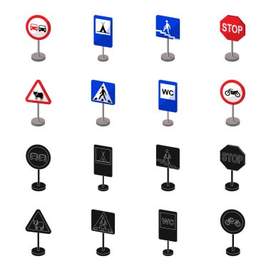 Different types of road signs black,cartoon icons in set collection for design. Warning and prohibition signs vector symbol stock web illustration.