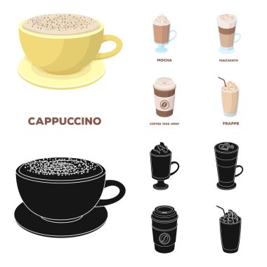 Mocha, macchiato, frappe, take coffee.Different types of coffee set collection icons in cartoon,black style vector symbol stock illustration web.