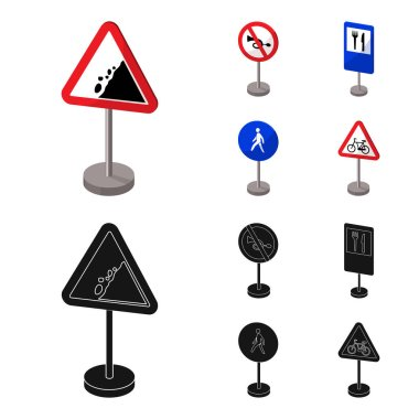 Different types of road signs cartoon,black icons in set collection for design. Warning and prohibition signs vector symbol stock  illustration.