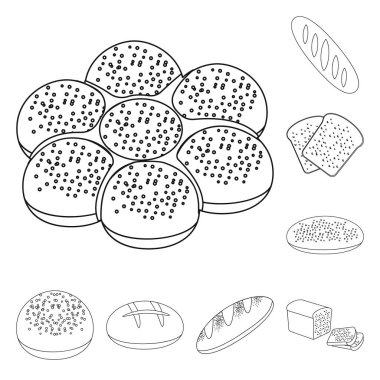 Types of bread outline icons in set collection for design. Bakery products vector symbol stock web illustration.