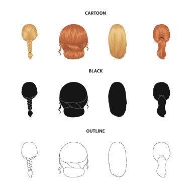 Light braid, fish tail and other types of hairstyles. Back hairstyle set collection icons in cartoon,black,outline style vector symbol stock illustration web.