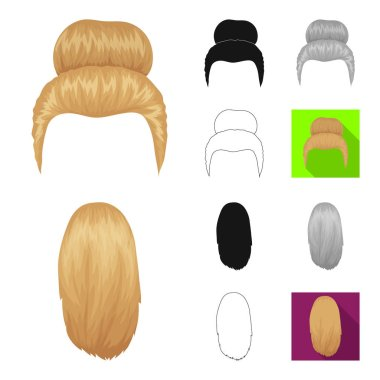Female hairstyle cartoon,black,flat,monochrome,outline icons in set collection for design. Stylish haircut vector symbol stock web illustration.