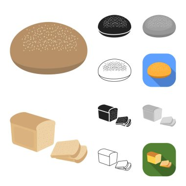Types of bread cartoon,black,flat,monochrome,outline icons in set collection for design. Bakery products vector symbol stock  illustration.