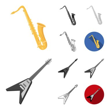 Musical instrument cartoon,black,flat,monochrome,outline icons in set collection for design. String and Wind instrument vector symbol stock web illustration.