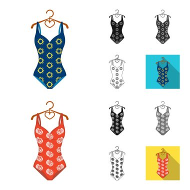 Different types of swimsuits cartoon,black,flat,monochrome,outline icons in set collection for design. Swimming accessories vector symbol stock web illustration.