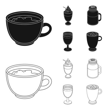 Esprecco, glase, milk shake, bicerin.Different types of coffee set collection icons in black,outline style vector symbol stock illustration web.