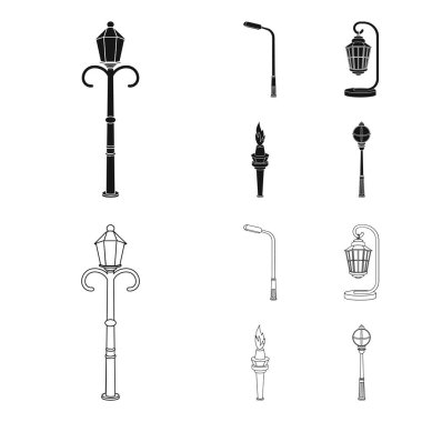 Lamppost in retro style,modern lantern, torch and other types of streetlights. Lamppost set collection icons in black,outline style vector symbol stock illustration web.