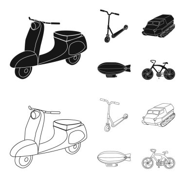 Motorcycle, scooter, armored personnel carrier, aerostat types of transport. Transport set collection icons in black,outline style vector symbol stock illustration web.