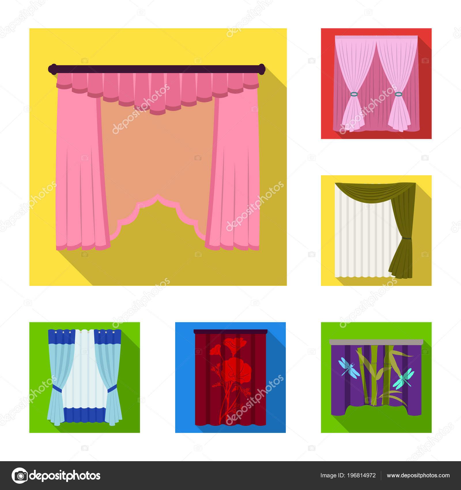 Verschillende soorten gordijnen plat pictogrammen in set collectie ...