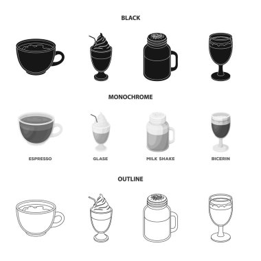 Esprecco, glase, milk shake, bicerin.Different types of coffee set collection icons in black,monochrome,outline style vector symbol stock illustration web.