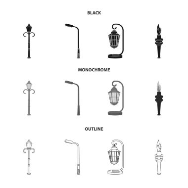 Lamppost in retro style,modern lantern, torch and other types of streetlights. Lamppost set collection icons in black,monochrome,outline style vector symbol stock illustration web.