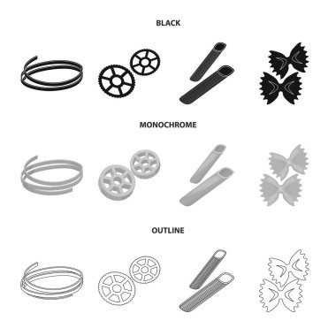 Different types of pasta. Types of pasta set collection icons in black,monochrome,outline style vector symbol stock illustration web.