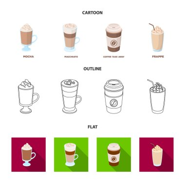 Mocha, macchiato, frappe, take coffee.Different types of coffee set collection icons in cartoon,outline,flat style vector symbol stock illustration web.