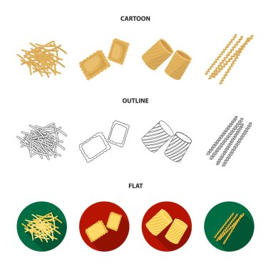 Different types of pasta. Types of pasta set collection icons in cartoon,outline,flat style vector symbol stock illustration web.