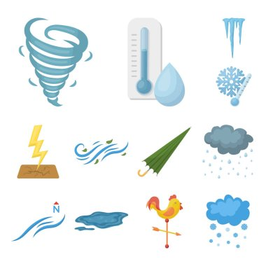 Different weather cartoon icons in set collection for design.Signs and characteristics of the weather vector symbol stock web illustration.