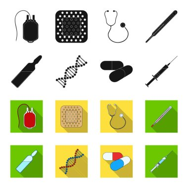 Human DNA and other equipment.Medicine set collection icons in black,flet style vector symbol stock illustration web.