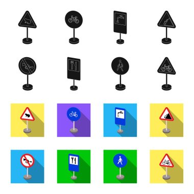 Different types of road signs black,flet icons in set collection for design. Warning and prohibition signs vector symbol stock web illustration.