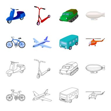 Bicycle, airplane, bus, helicopter types of transport. Transport set collection icons in cartoon,outline style vector symbol stock illustration web.