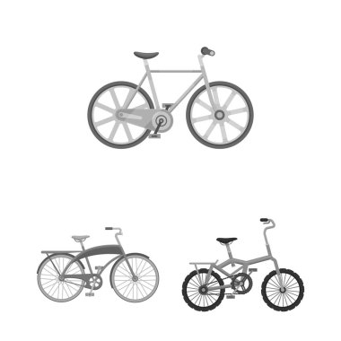 Various bicycles monochrome icons in set collection for design. The type of transport vector symbol stock web illustration.