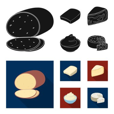 Gruyere, camembert, mascarpone, gorgonzola.Different types of cheese set collection icons in black, flat style vector symbol stock illustration web.
