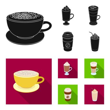 Mocha, macchiato, frappe, take coffee.Different types of coffee set collection icons in black, flat style vector symbol stock illustration web.