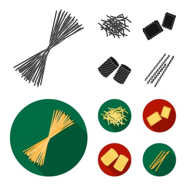 Different types of pasta. Types of pasta set collection icons in black, flat style vector symbol stock illustration web.