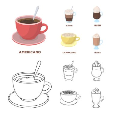 American, late, irish, cappuccino.Different types of coffee set collection icons in cartoon,outline style vector symbol stock illustration web.