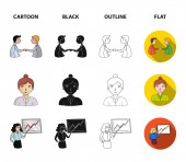 Businesswoman, growth charts, brainstorming.Business-conference and negotiations set collection icons in cartoon,black,outline,flat style vector symbol stock illustration web.