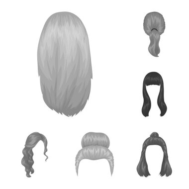 Female hairstyle monochrome icons in set collection for design. Stylish haircut vector symbol stock web illustration.