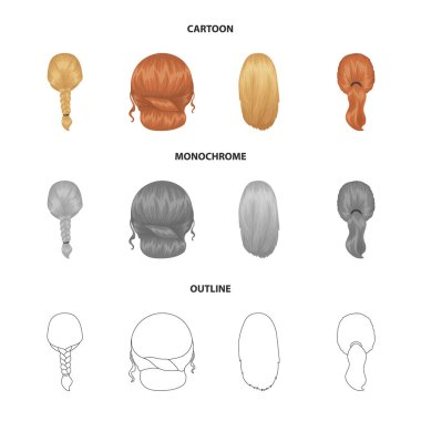 Light braid, fish tail and other types of hairstyles. Back hairstyle set collection icons in cartoon,outline,monochrome style vector symbol stock illustration web.